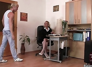 Rough lovemaking with office blonde in white stockings