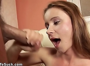 Czech girl gives a great pov blowjob and swallows cum