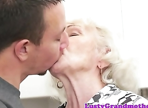 Soft grandmother banged by young repairman