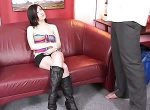 Fakeshooting Crazy young brunette is surprised when fake agent show her big cock
