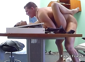 Slim patient doing doctors dick all round office