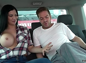 Ryan Ryder convince young innocet sweet Jasmine Jae to mad about in driving van