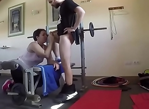 She eats his dick on the exercise machine and then swallows it all. SAN107