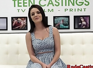 Rough casting for deepthroating teen babe