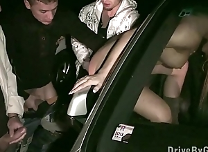 Ass through car window for anyone to fuck at a public sex gang rumble dogging orgy
