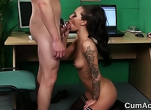 Naughty human being gets jizz load on her face swallowing all the juice