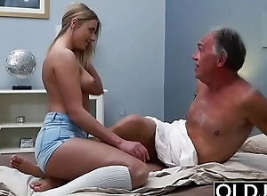 Blonde Teen Screwed Overwrought Hairy Old Man she loves getting sex blowjobs and cum