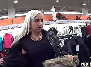 Charming czech kitten is seduced in the shopping indecent and fucked in pov