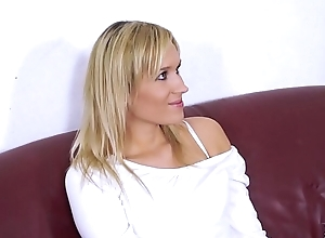 Fakeshooting Pretty blonde fuck in panties with ugly fake agent in the sky the sofa