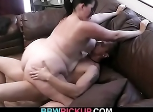 BBW is picked up for sucking and cock riding