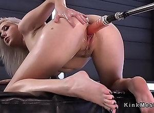 Fair-haired rides sybian and moans