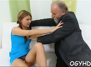 Lewd young babe screwed by old boy