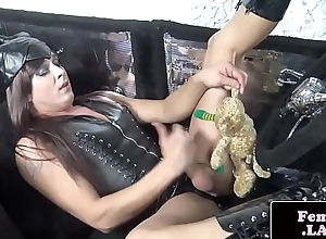 Latex shemale jerking off her hard dick